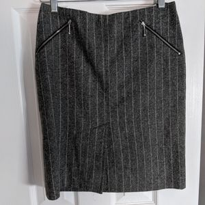 Gray Tweed Pinstripe Skirt with Zipper Pockets